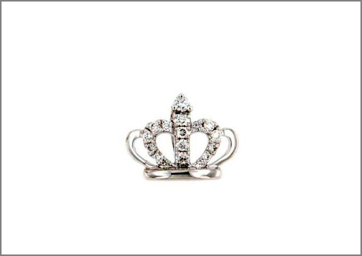 Ciondolo a forma di corona in oro bianco e diamanti