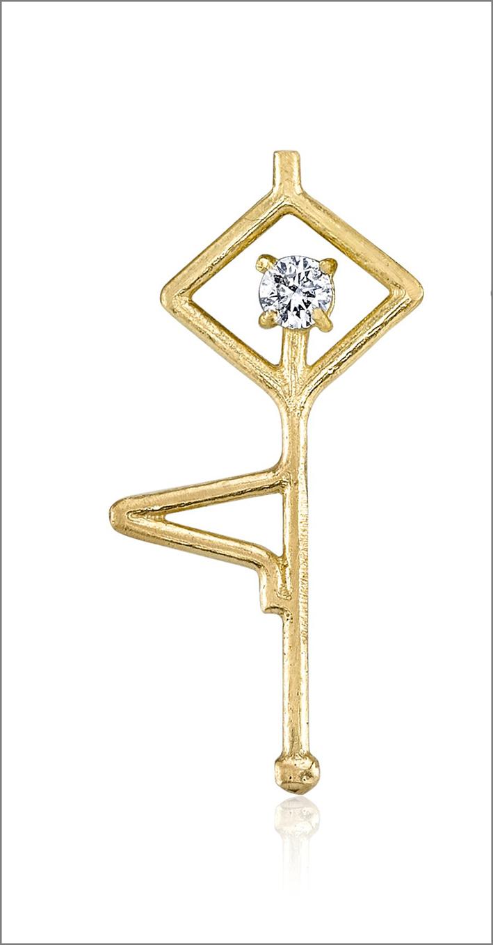 Ciondolo con la posa «albero», oro giallo e diamante. Prezzo 875 dollari