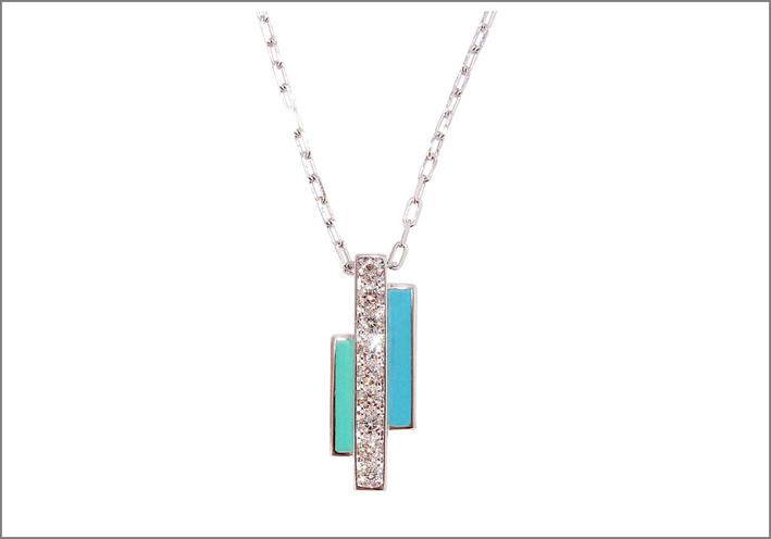 Collana in oro bianco con diamanti e lacca azzurra
