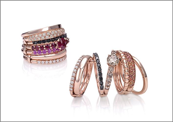 Anello oro rosa, diamanti bianchi e neri, rubini, zaffiri rosa e diamanti bianchi. Anello oro rosa, diamanti bianchi neri e brown, zaffiri arancio
