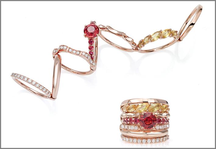 Anello oro rosa, zaffiri gialli, zaffiri arancio, diamanti