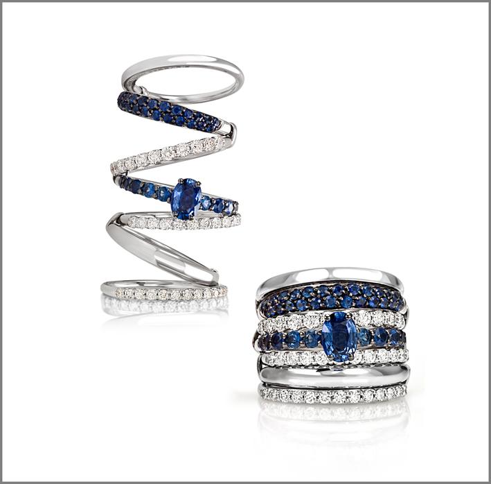 Anello oro bianco, diamanti, zaffiro blu