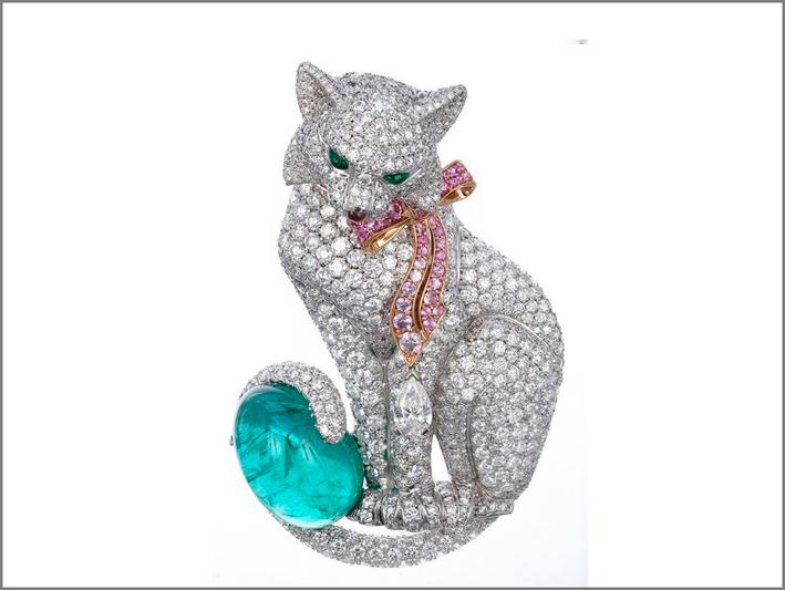 Spilla di Fabergé con diamanti e tormalina