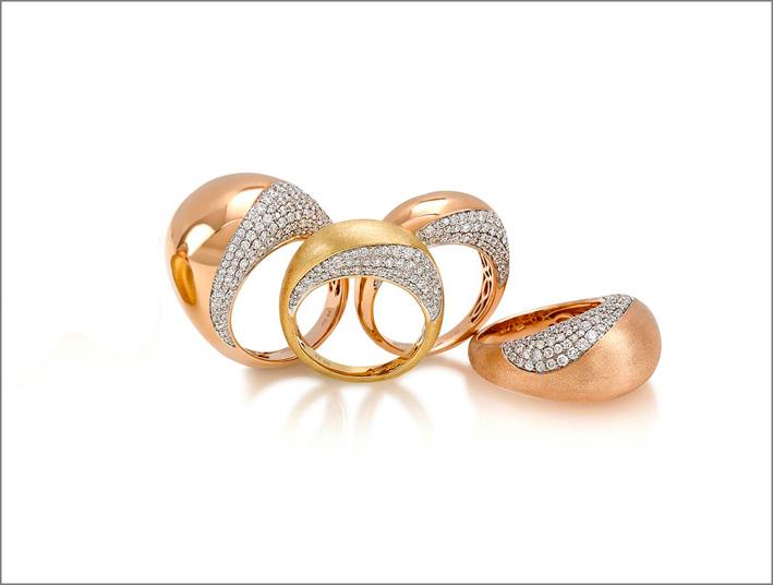 Collezione Dome, anelli in oro rosa e pavé di diamanti
