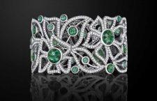 Bracciale Florette in oro bianco, diamanti, tormalina verde