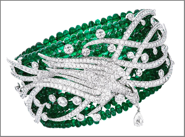 Bracciale Grand Pheasant and Love Dance, con smeraldi e diamanti