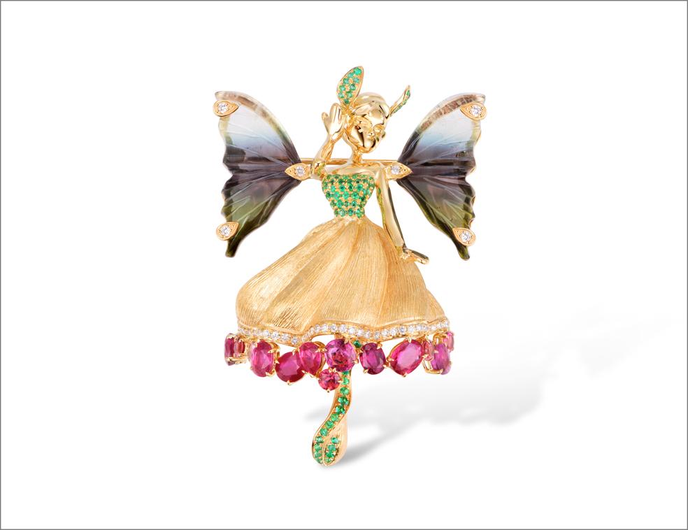 Personaggio della collezione Fairy in oro, zaffiri, smalto, tsavorite