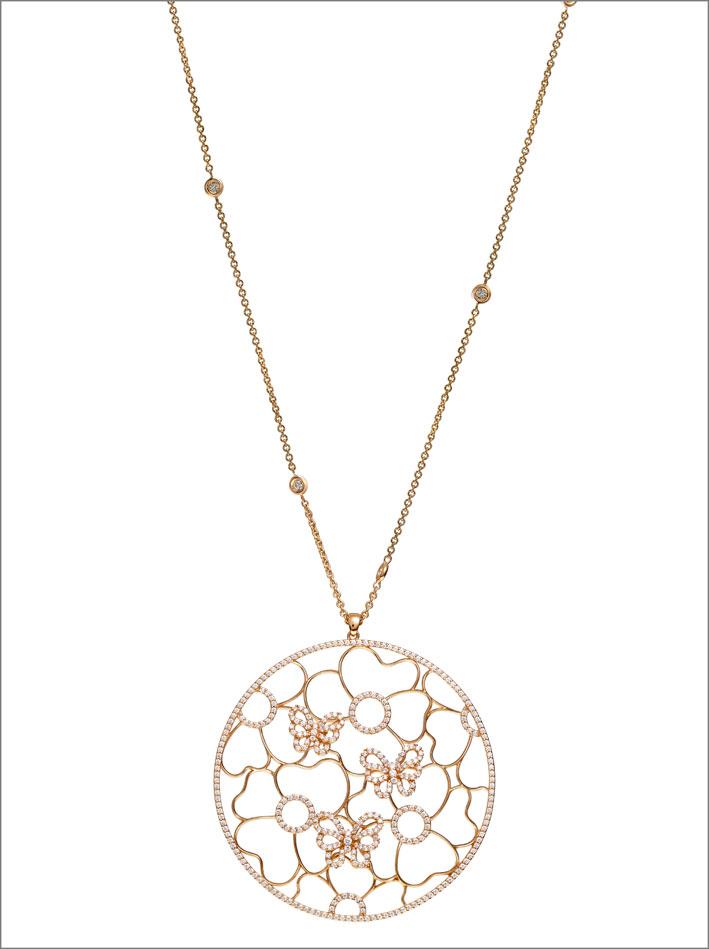 Leo Pizzo, collezione Merletti, pendente in oro e diamanti