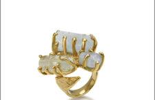 Anello della linea Terra, in argento dorato e acquamarina grezza