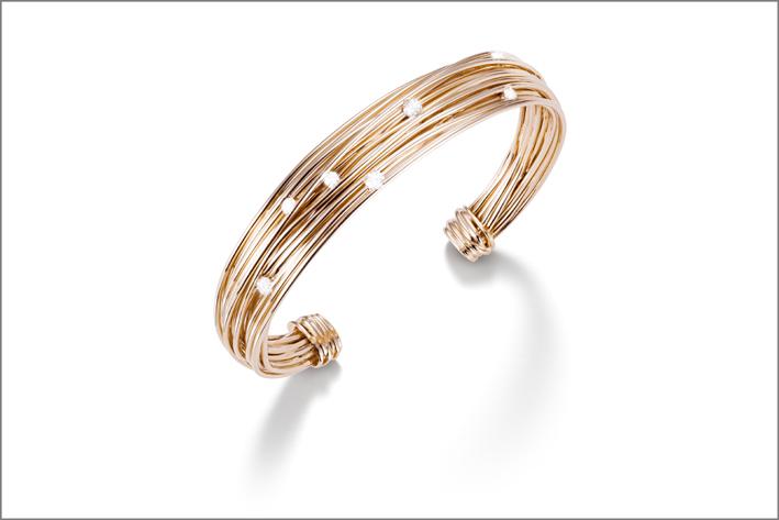 Mattioli, bracciale in oro rosa e diamanti