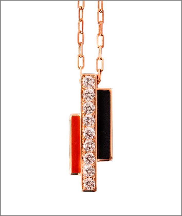 Mathon, collana in oro rosa, diamanti e lacche