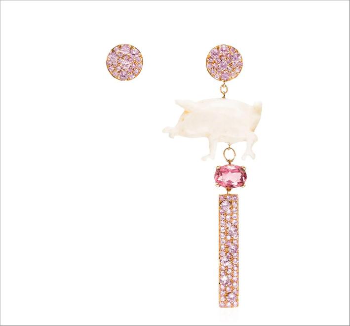 Orecchini in oro 18 carati con zaffiri rosa