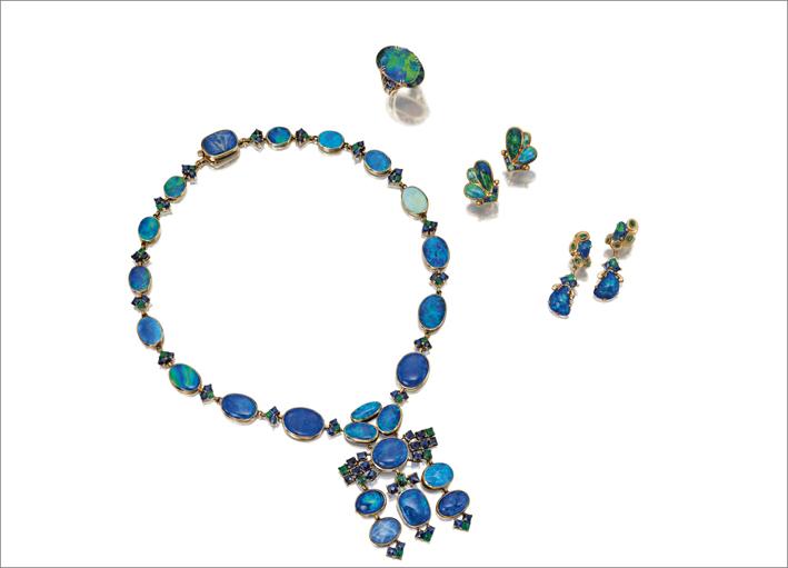 Collana con opale nero e gemme degli anni Quaranta, collezione Lineberry, venduta da Sotheby's