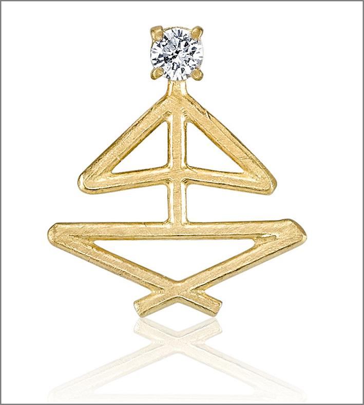 Pendente posa meditazione, oro giallo e diamante. Prezzo: 875 dollari