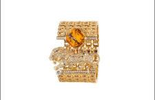 Bracciale in oro giallo, diamanti, topazio orange