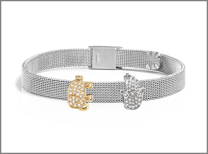 Morellato, bracciale in acciaio con due charms