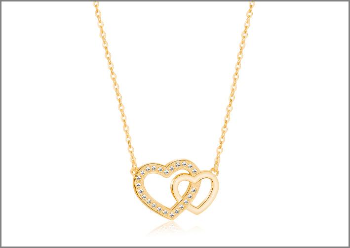 Collana di S'Agapò in acciaio e cristalli color oro