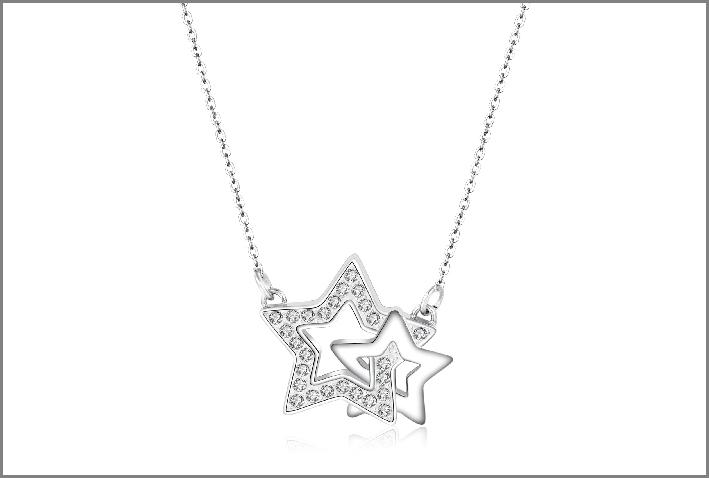 Collana in acciaio a forma di stelle e cristalli bianco