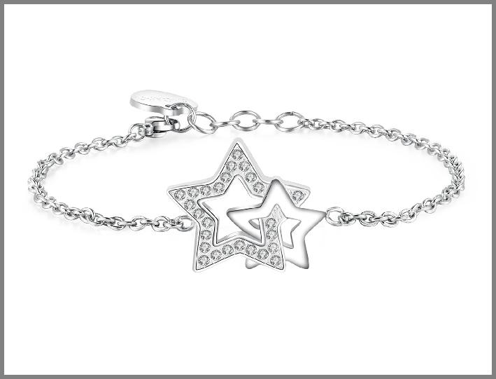 Bracciale in acciaio a forma di stelle e cristalli bianco