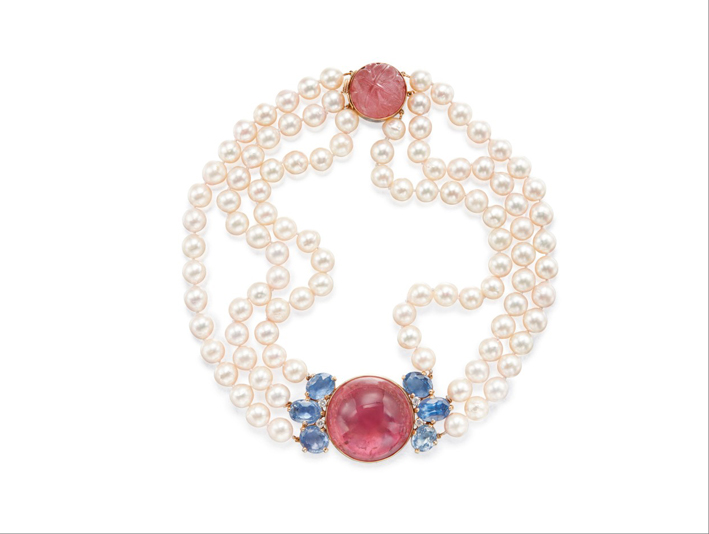 Collana con tormalina rosa, perle, zaffiri, diamanti