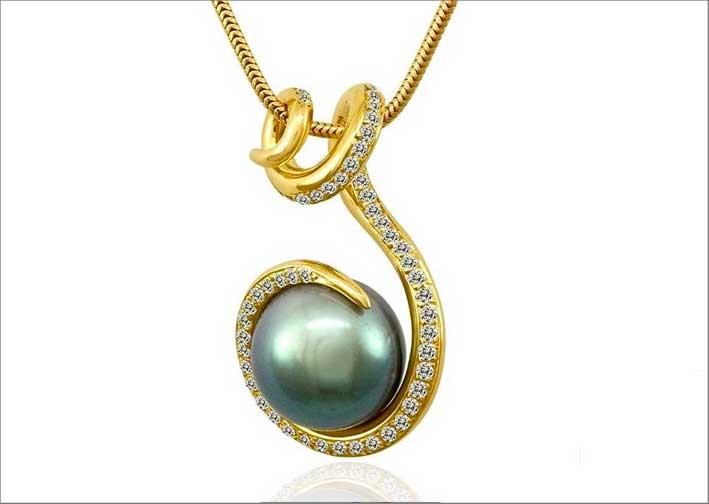 Pendente Tendril in oro giallo,diamanti, perla di Tahiti