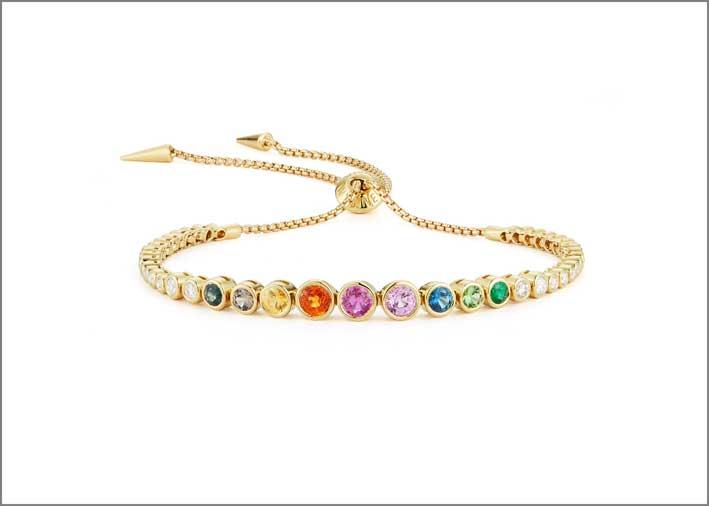 Bracciale in oro con diamanti, tsavoriti, zaffiri di diversi colori