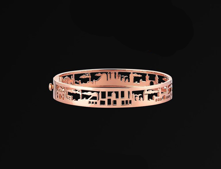 Bracciale in oro rosa con lo skyline della città