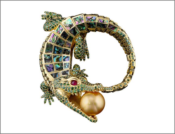 Coccodrillo con perla, rubini, oro giallo, smeraldi