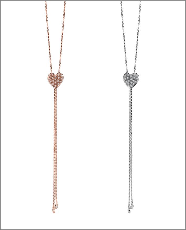 Collane I Segni, in oro bianco e rosa, diamanti