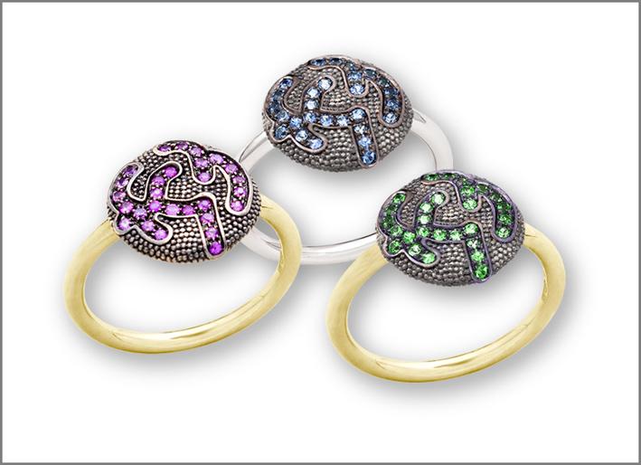 Lentille ring, anelli in oro giallo con zaffiri rosa e blu, tsavorite