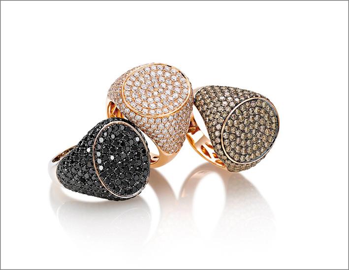 Anelli con pavé di diamanti bianchi, brown e neri