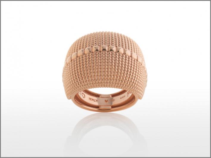 Anello della collezione Pixel Square in argento rosa