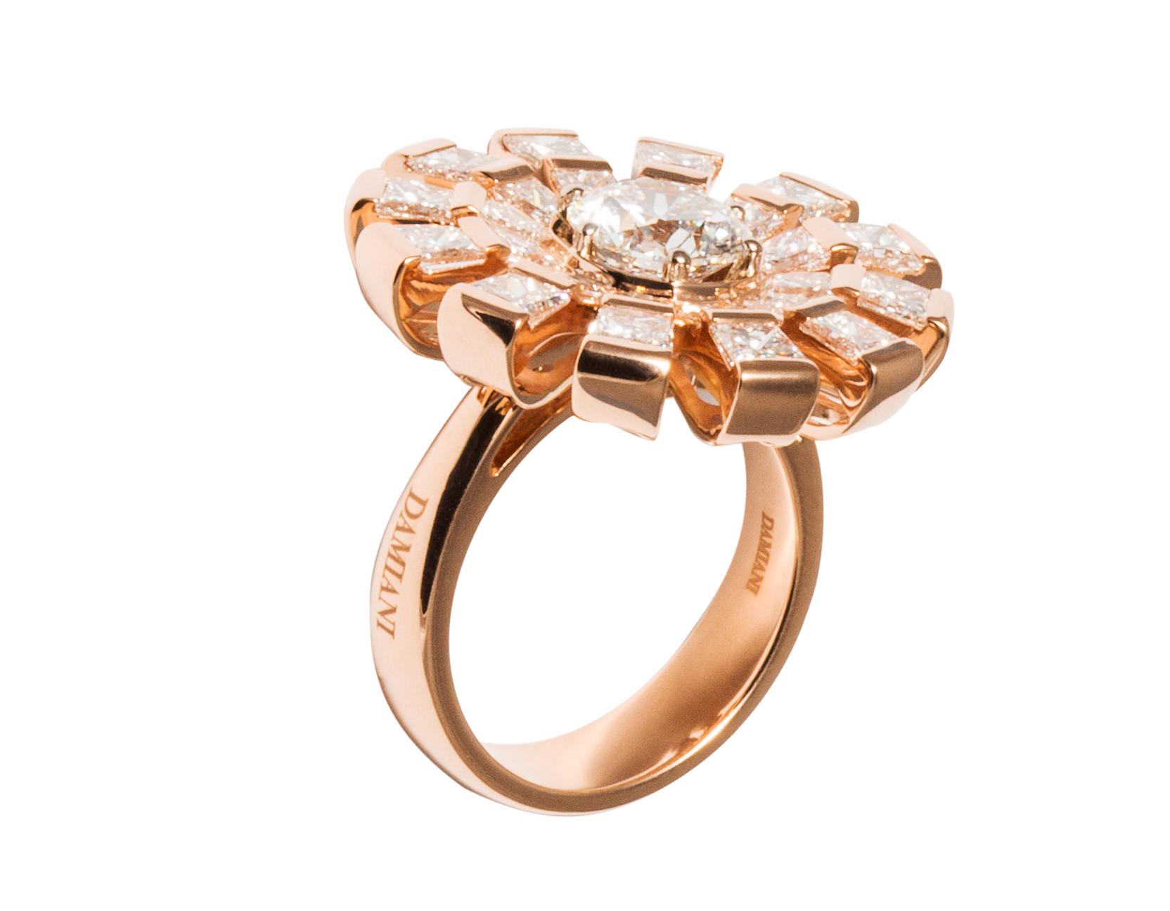 Anello della collezione Margherita in oro rosa e diamanti