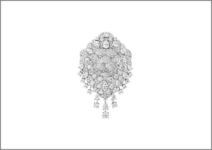 Spilla in oro bianco e diamanti