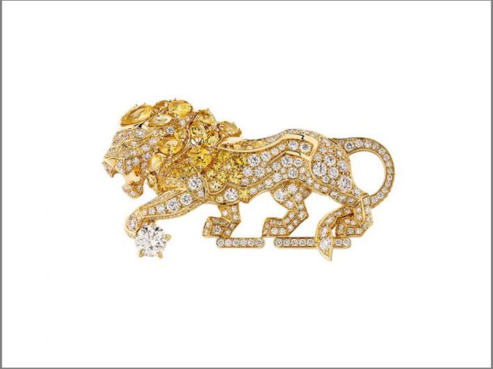 Spilla in oro giallo, diamanti bianchi, zaffiri