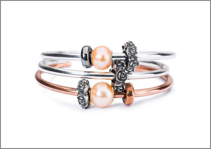 Trollbeads, bracciale con lo stop a forma di rosa in argento