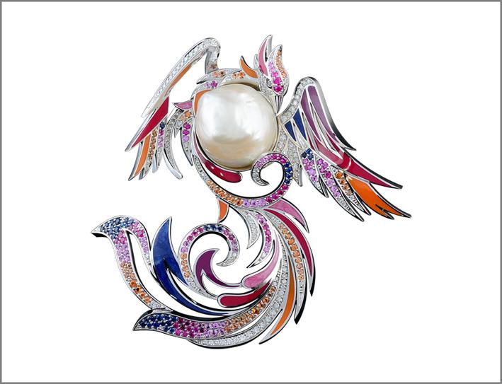 Spilla a forma di uccello con perla, oro bianco, diamanti, pietre di colore