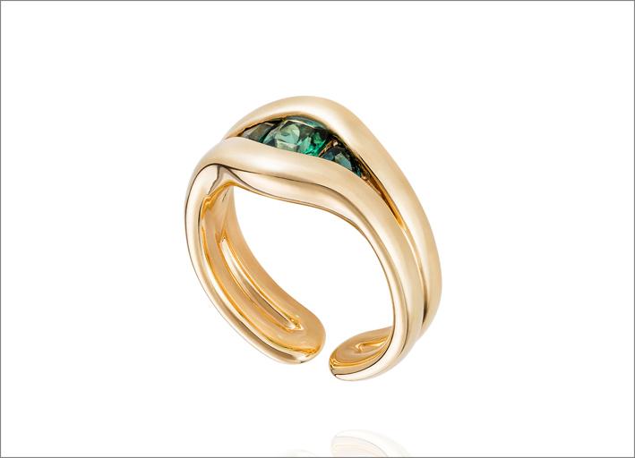 Fernando Jorge, anello in oro giallo 18 carati e tormalina