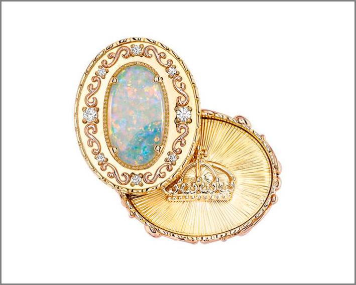 Anello Cassetto segreto (Cachette tiroir) in oro, diamanti, opale