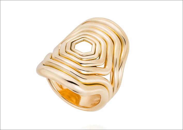 Anello in oro giallo 18 carati della collezione Parallel