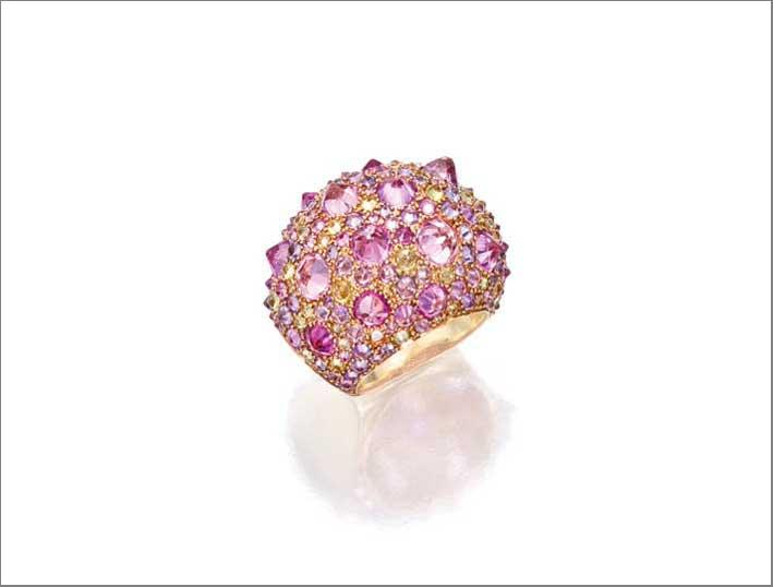 Anelle Hérrison in oro rosa, zaffiro rosa e peridoto