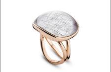 Bigli, anello in oro rosa, diamante e quarzo rutilato