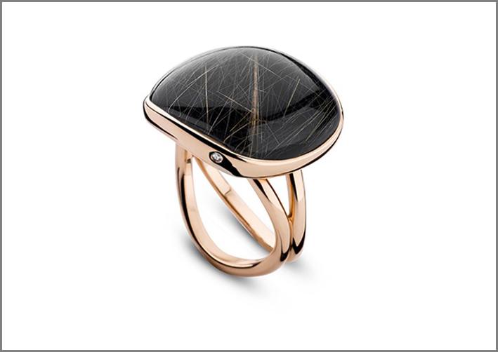 Bigli, anello in oro rosa, diamante e pietra rutilata