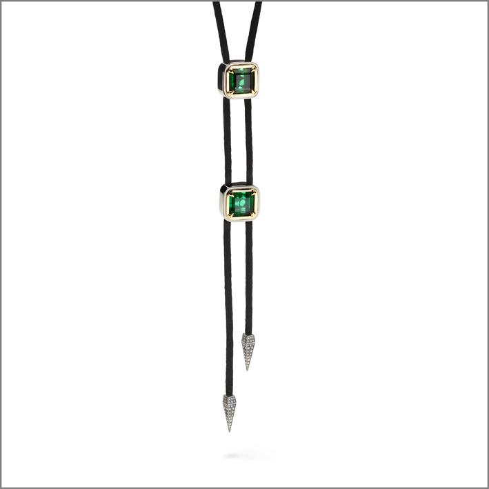 Antonini, collana con oro giallo e bianco, diamanti, smeraldi