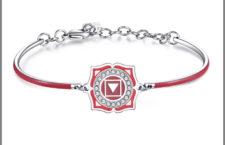 Cracciale in acciaio con smalti rossi e cristalli Swarovski Elements chakra i am. Prezzo: 34 euro