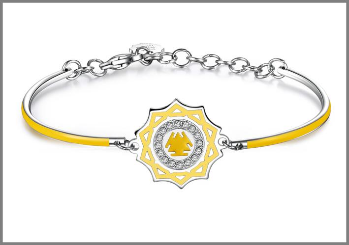 Bracciale in acciaio con smalti gialli e cristalli Swarovski Elements chakra i do. Prezzo: 34 euro