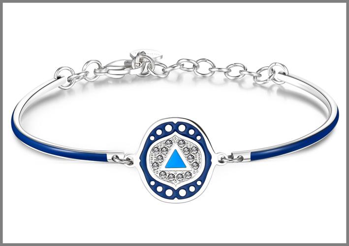 Bracciale in acciaio con smalti blu e cristalli Swarovski Elements chakra i see. Prezzo: 34 euro