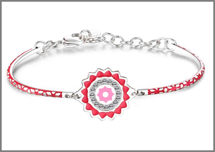 Bracciale in acciaio con smalti rosa e cristalli Swarovski Elements chakra i know. Prezzo: 34 euro