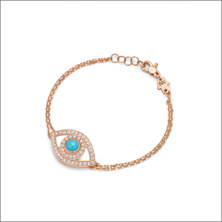 Bracciale in oro rosa, diamanti e turchese