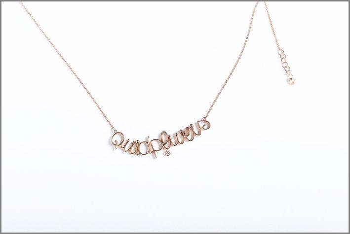 Collana in oro rosa Quadriplus con ciondolo in diamanti